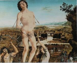 """Antonio o Pietro del Pollaiolo. Martirio di San Sebastiano, 1475 circa. Londra National Gallery  Il corpo  di Sebastiano appare rialzato rispetto allo sfondo caratterizzato da un  paesaggio """"a volo d'uccello"""" che ricorda la valle dell'Arno, attraversato dai meandri di un  fiume ornato da pioppi cipressini."""